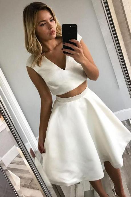 Sample V Neck Short Two Piece White Homecoming Dress Party Dress