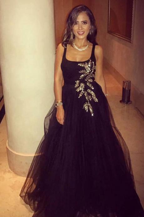 Square Neckline Black Tulle Prom Evening Dresses Ball Gowns with Sparkly Crystals