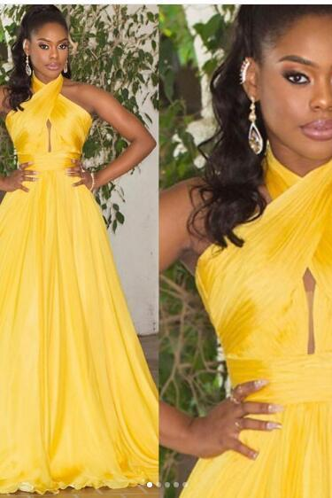 2017 Sexy Prom Dress, Yellow A-line Prom Dresses, Crisscross Neckline Long Evening Dress,