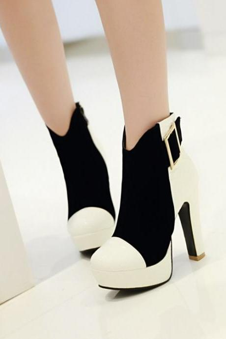 Cheap Winter Fashion Round Toe Patchwork Zipper Design Chunky Super High Heel Black-white