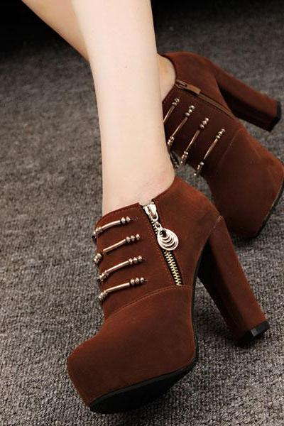 Cool Black Zipper High Heel Shoes