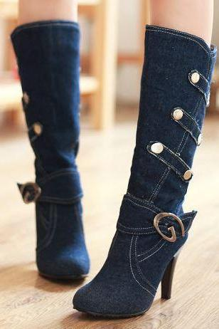 FREE SHIP Hot Knee High Denim High Heel Boots
