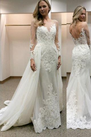 Charming Wedding Dress,Long Sleeve Lace Wedding Dresses,Sexy Mermaid Wedding Gown,