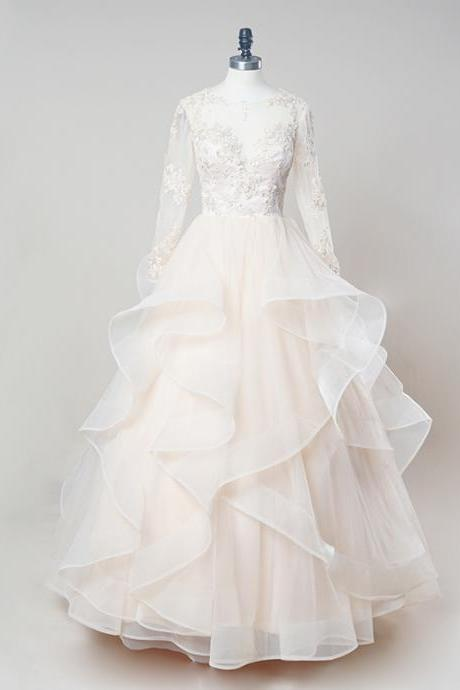 Sheer Long-Sleeved Lace Appliqués Ruffled Princess Ball Gown, Wedding Dress