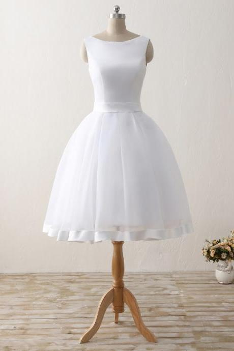 Cheap Short Beach Wedding Dresses Formal Women Backless Organza Satin Bow Bridal Gowns