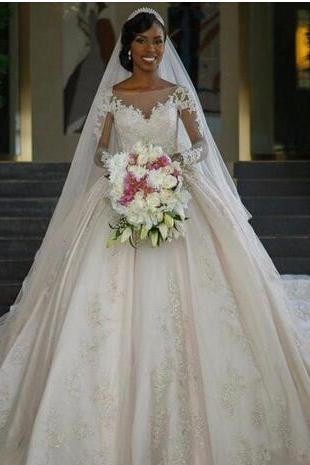 Princess Wedding Dresses Vestido De Noiva Manga Comprida 2018 Elegant Long Sleeve Wedding Dress