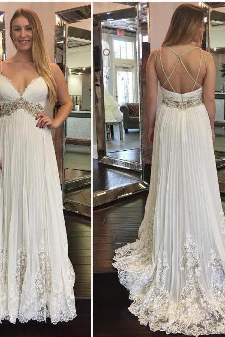 Lace Crystals 2018 Beach Wedding Dresses Spaghetti Backless A-line Chiffon Bridal Dresses