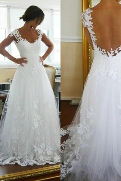 Floral Lace Appliqués Plunge V Cap Sleeves Floor Length Tulle Wedding Dress Featuring Open Back