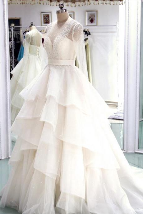 Wedding Dress,Wedding Gown,Bridal Gown,Bride Dresses, Long Wedding Dresses,Tiered Wedding Dress