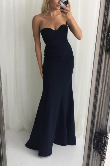 Sweetheart Mermaid Navy Blue Long Bridesmaid Dress Party Dress