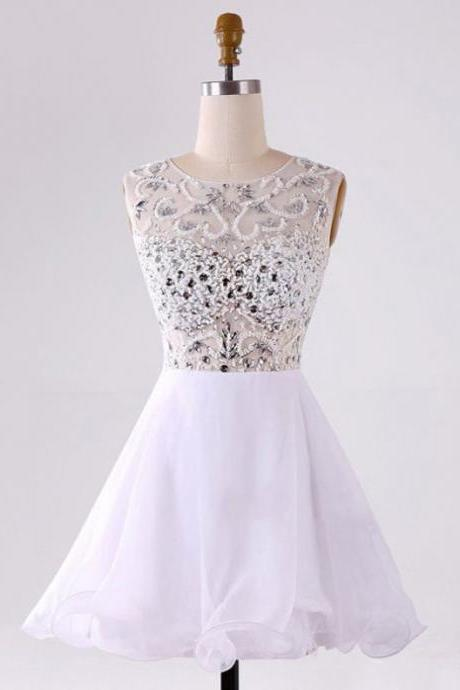 White Homecoming Dresses Zippers Sleeveless A lines Bateau Mini Chiffon Crystal Beads Ruffle