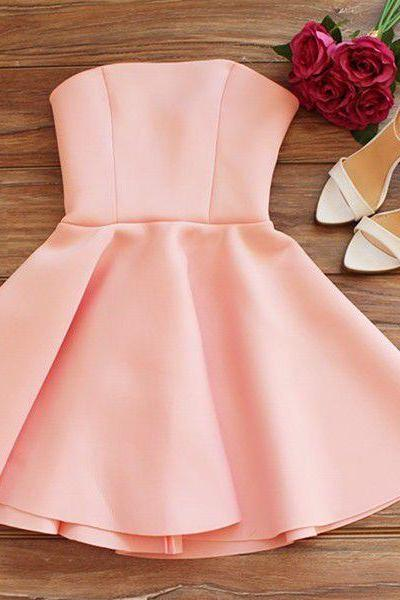 Homecoming Dresses Pink Sleeveless Zipper-Up Hem Above-Knee Strapless Aline