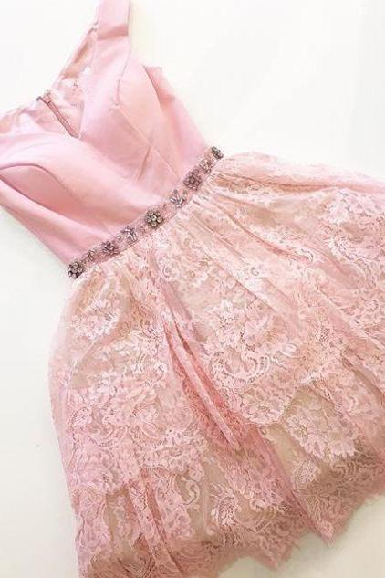 Pink Homecoming Dresses Zippers Sleeveless N/A V-Neck Scoop Short Lace