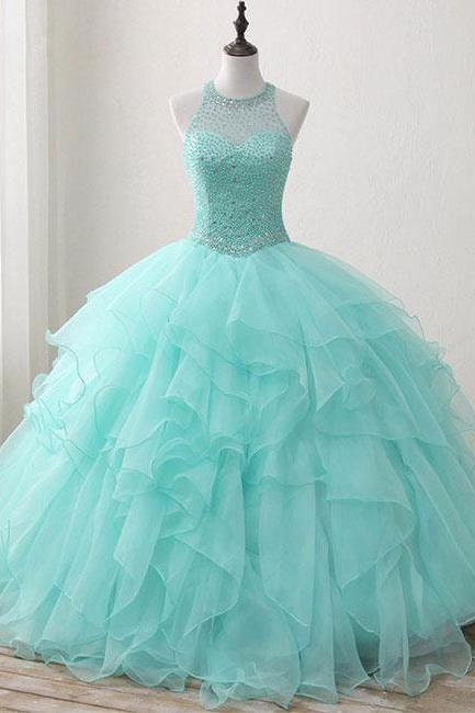 CUTE GREEN ROUND NECK TULLE BEADS LONG PROM DRESS, SWEET 16 DRESS