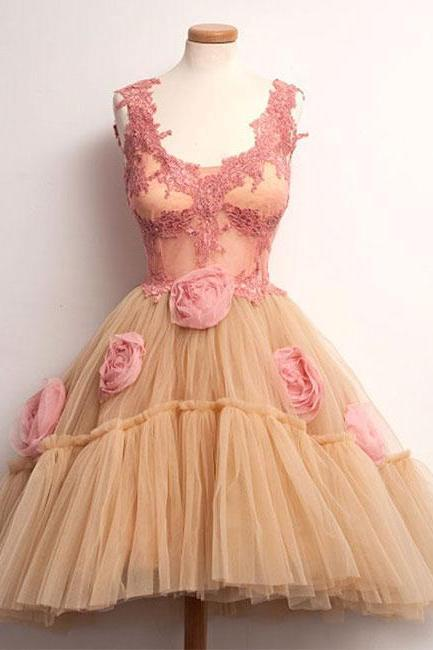 CUTE CHAMPAGNE LACE TULLE SHORT PROM DRESS. CUTE HOMECOMING DRESS