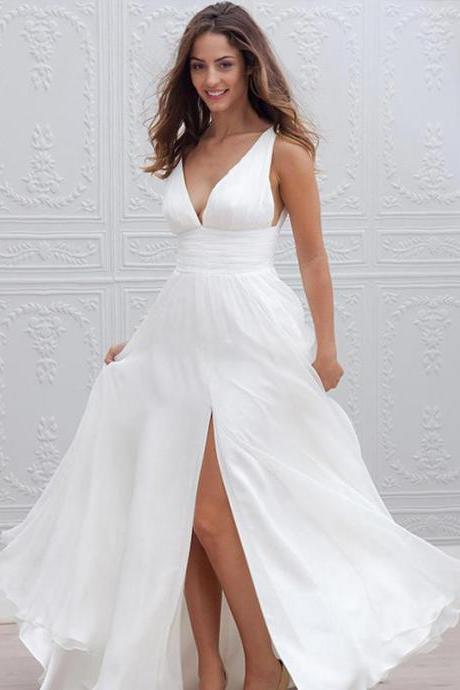 Long Wedding Dress, Chiffon Wedding Dress, Deep V-Neck Bridal Dress, Sleeveless Wedding Dress