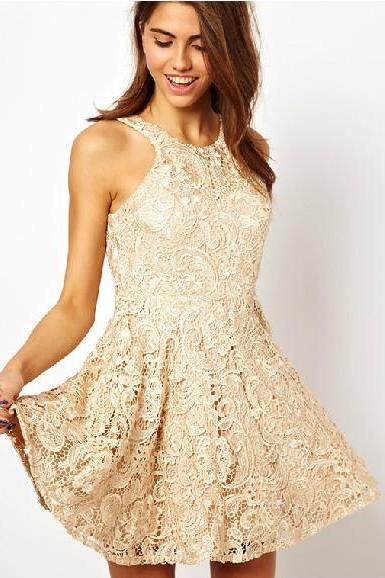 Slim sexy lace sleeveless pleated halter mini dress