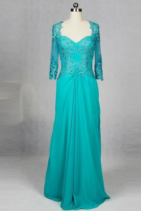 Neckline Lace 3/4 Sleeve Turquoise Chiffon Nother Of The Bride Dress