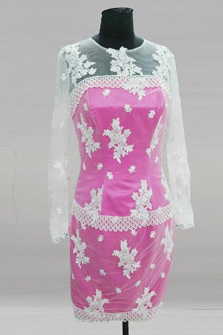 Pink Short Groom Mother Of The Bride Lace Dresses