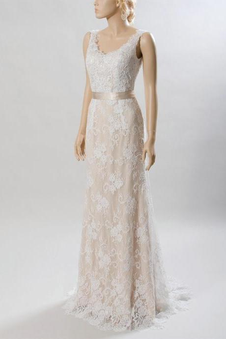 Champagne Sleeveless Lace Floor-Length Wedding Dress Featuring V-Back