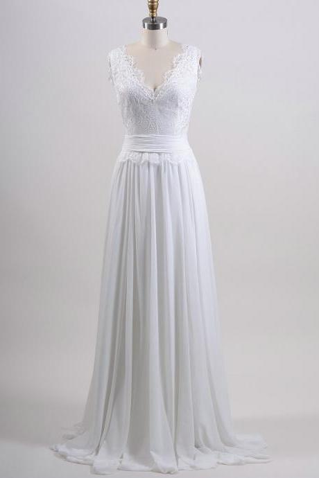 A line Summer Wedding Dress,Lace Bridal Dress,Chiffon Wedding Gown