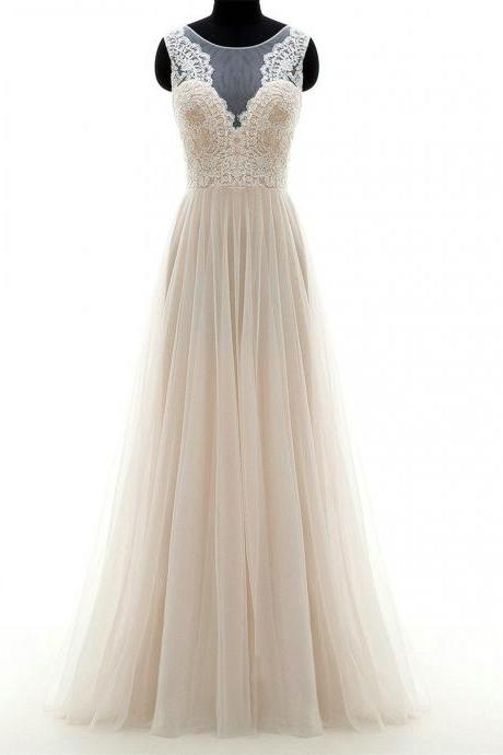 Sleeveless Sheer Lace A-line Floor-Length Wedding Dress featuring Sheer Back