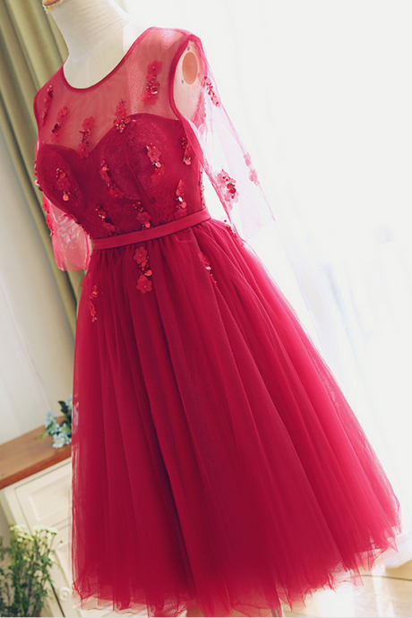 Party Dress, Tea length Red Lace Bridesmaid Dress,Half Sleeves Lace Prom Dress