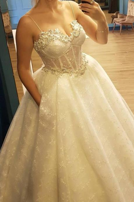 Corset Beaded Sweetheart Ball Gown Lace Wedding Dress with Pockets