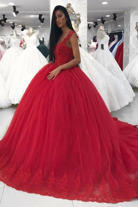 Elegant Lace Corset V Neck Ball Gowns Wedding Dresses in Red Tulle