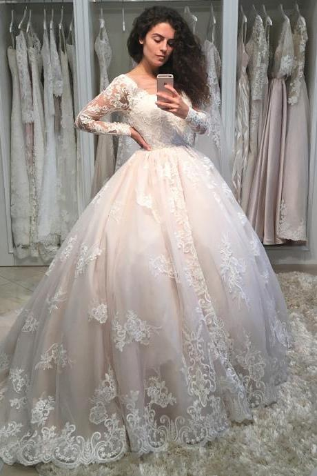 Romantic Lace Long Sleeves Wedding Ball Gown Dresses