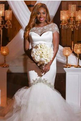 African Mermaid Wedding Dresses With Short Sleeves Major Beading Plus Size Wedding Dress