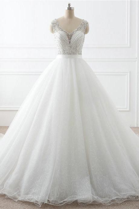 Ball Gown Wedding Dress,Handmade Beaded Bridal Dress,V-neckline Beaded Wedding Gown