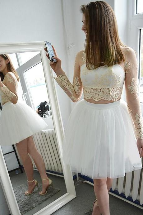 Long Sleeves Homecoming Dresses,A-line Homecoming Dresses,See Through Homecoming Dresses,