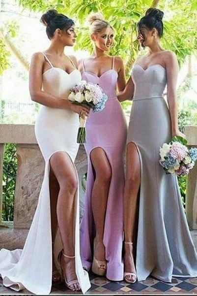 Sexy Bridesmaid Dress, Mermaid Spaghetti Straps Bridesmaid Dresses,Satin Bridsmaid Dress