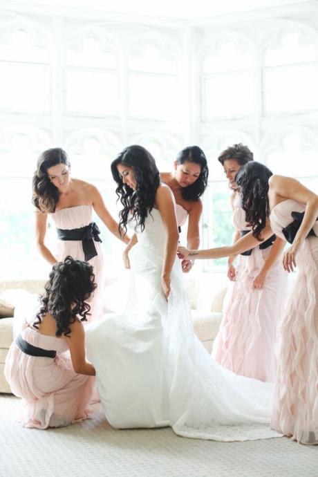 Elegant Bridesmaid Dress, Pink Bridesmaid Dresses,Strapless Bridsmaid Dress