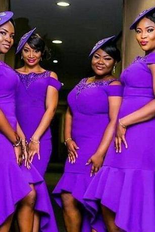 Purple Plus Size Bridesmaid Dresses African Women Formal Wear High Low Beads