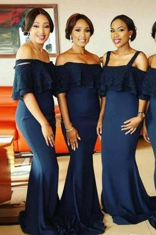 Nave Blue Mermaid Bridesmaid Dresses Off The Shoulder Short Sleeves Wedding Guest Dress