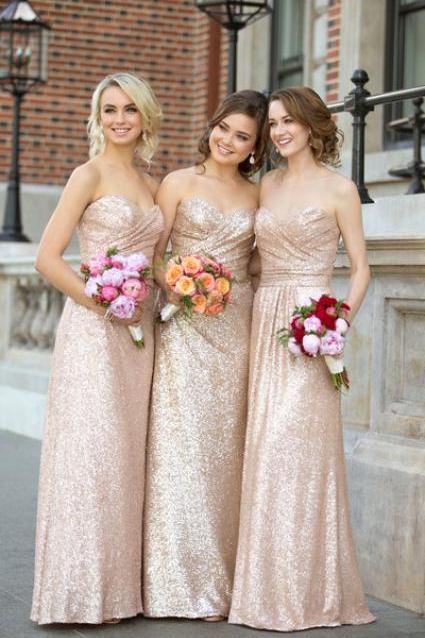 Sexy Long Metallic Sequin Bridesmaids Dress A-line Sleeveless Bridesmaids Dresses