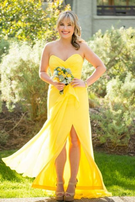 2018 Yellow Bridesmaid Dress, Sweetheart Bridesmaid Dresses