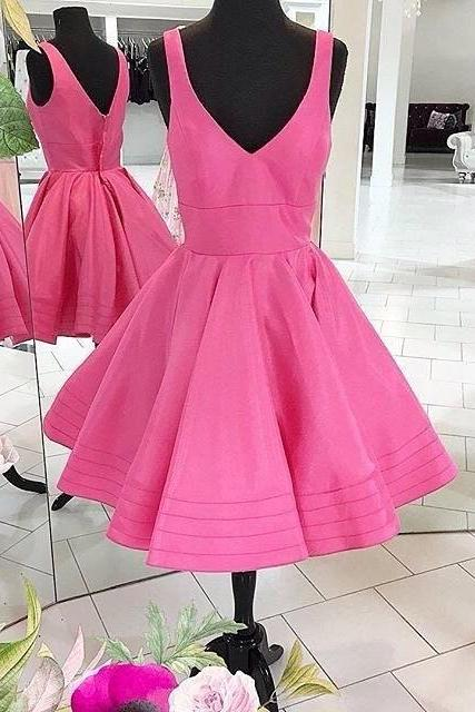 A-line Short Hot Pink Homecoming Dress