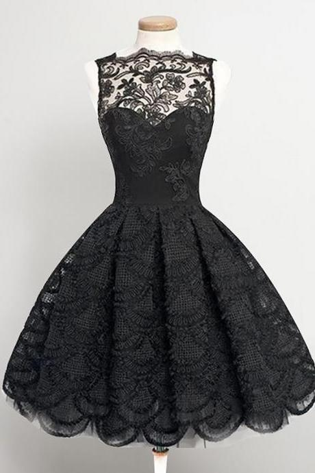 Black Lace/Satin Homecoming Dresses Sleeveless A lines Bateau Zipper-Up Knee-length Applique