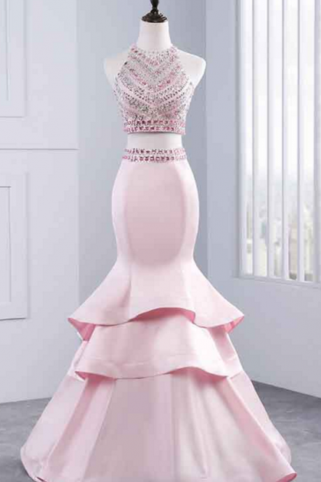 Long Prom Dresses, Sexy Prom Dresses, Two Piece Party Prom Dresses, Beading Prom Dresses