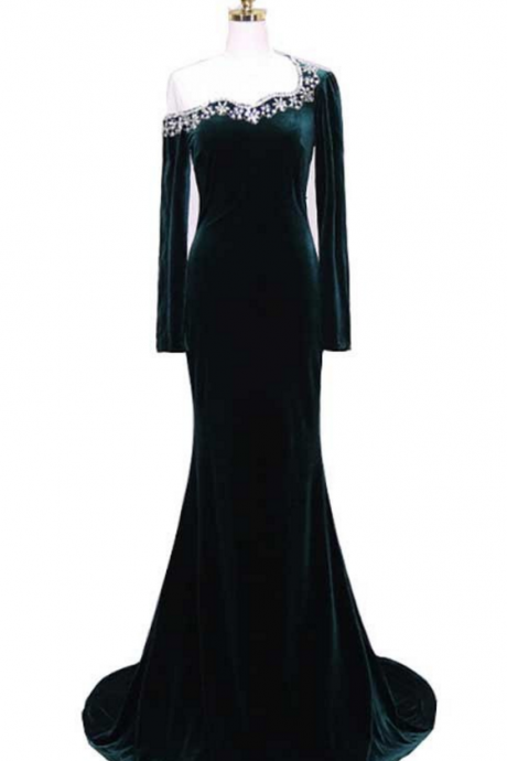 One-Shoulder Long-Sleeved Mermaid Long Prom Dress, Evening Dress