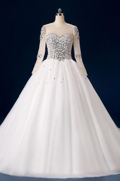 Luxury Crystal Beading Bodice Lace Long Sleeve Ball Gown Wedding Dresses