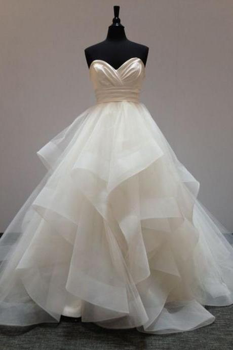 Strapless Sweetheart Ruched Ruffle Ball Gown Wedding Dress