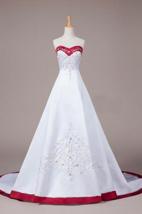 Long Wedding Dress, Satin Wedding Dress, Bridal Dress with Court Train, Sweet Heart Wedding Dress