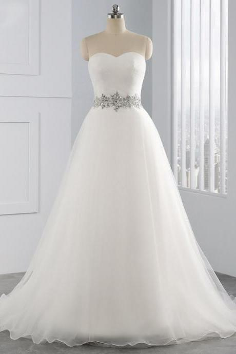 Strapless Sweetheart Ruched Embellished A-line Wedding Dress, Bridal Gown