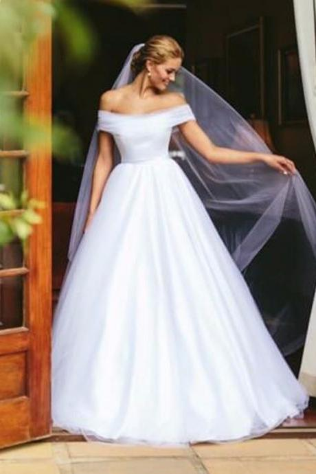 Concise White Tulle Off Shoulder Ball Gown Wedding Dress Bridal Gowns 2018