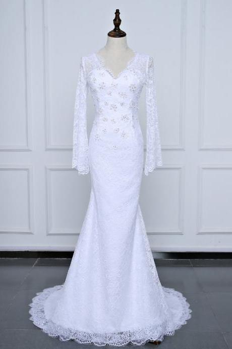 V-neck Lace Mermaid Wedding Dress with Bell Long Sleeves
