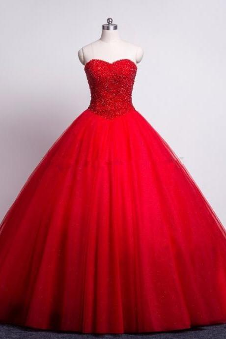 Modest Red Prom Quinceanera Dresses Sweetheart Beaded Corset Tulle Ball Gown
